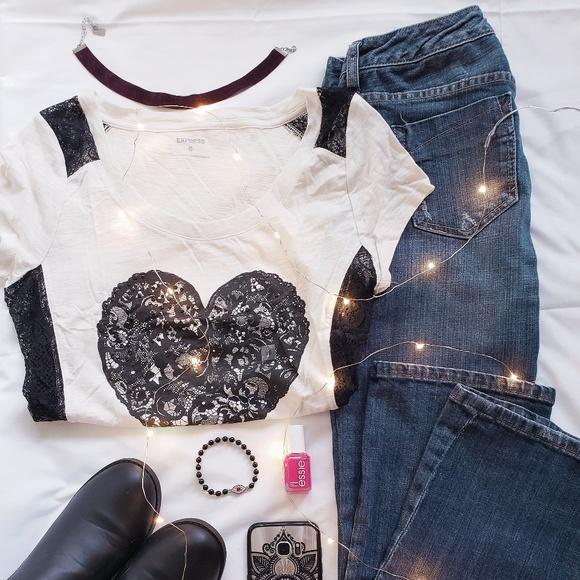 Express Tops - Lace insert heart t-shirt